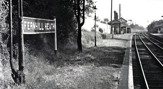 Fernhill Heath station towards Droitwich, 1960 (Stations UK)