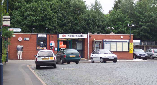 Kidderminster station building from car park
