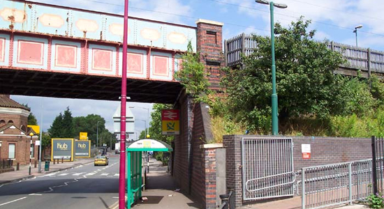 Witton station entrance and signpost