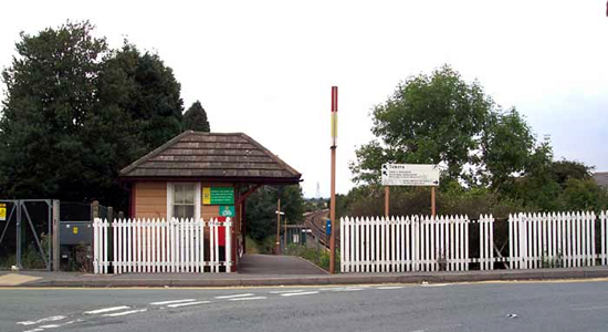 Wythall station entrance and booking 'hut'
