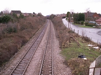Fernhill Heath station towards Shrub Hill from footbridge