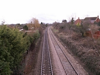 Fernhill Heath station towards Droitwich from footbridge