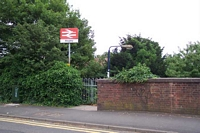 Hagley station entrance from road overbridged