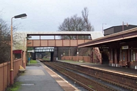 Hall Green station footbridge and Birmingham platform building