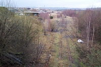 Pensnett halt trackbed and sidings from High Street bridge