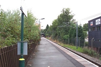 Redditch station platform and buffer stop