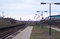 Small Heath station island platform looking towards Tyseley