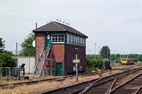 Stourbridge Junction station signal box from platform 3