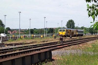 Track repair vehicles at Stourbridge Junction station