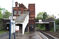 Water Orton station building viewed from Birmingham platform