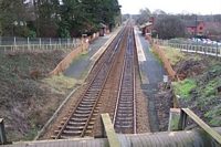 Yardley Wood stration viewed from Highfield Road bridge