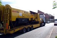 Grinding vehicle on trailer, Wednesbury
